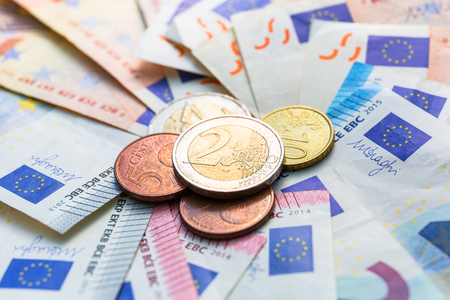 Euro money banknotes and coins Stock Photo - 75224703