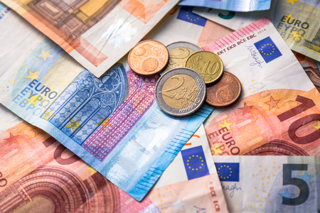 Euro money banknotes and coins Stock Photo - 75145321