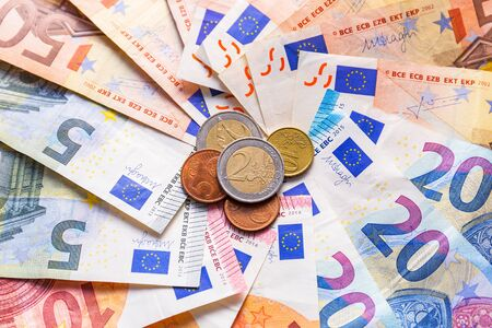 Euro money banknotes and coins Stock Photo - 75207497