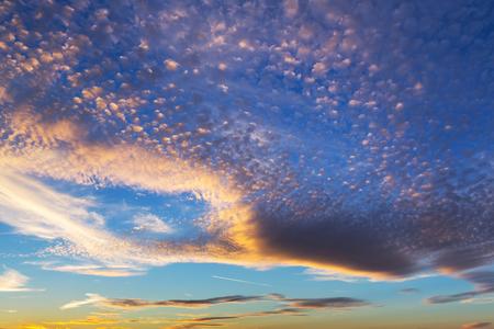 Dramatic sky pattern at sunset