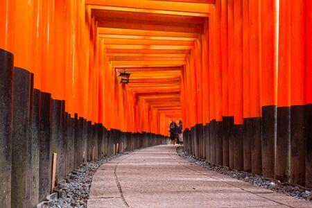 Thousands of torii gates at Fushimi Inari Shrine in Kyoto, Japan Stock Photo - 75207218