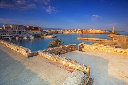Old Venetian port of Chania at sunrise, Crete. Greece