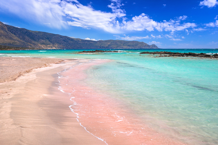 Elafonissi beach with pink sand on Crete, Greece 스톡 콘텐츠