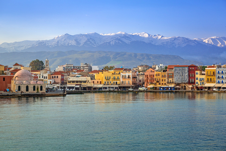 Old Venetian port of Chania at dawn, Crete. Greece