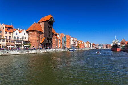 Historic port crane at Motlawa river in Gdansk, Poland Stock Photo