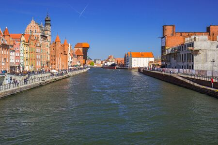 GDANSK, POLAND - MAY 2, 2017: Historic port crane at Motlawa river in Gdansk. Port crane in Gdansk built between 1442 and 1444 is the city symbol and the oldest surviving port crane in Europe. Editorial