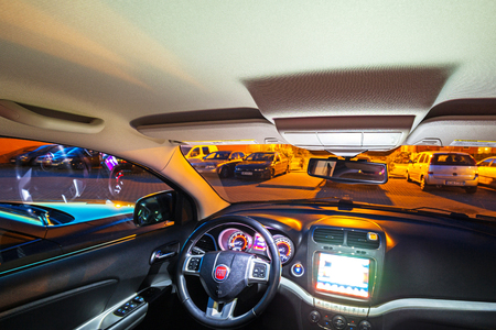 PRUSZCZ GDANSKI, POLAND - JUNE 7, 2017: Interior of Fiat Freemont SUV car captured at dusk with long exposure technique. Editorial
