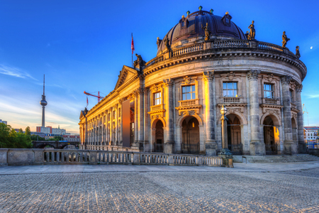 bode: Architeture of Museum island and TV Tower in Berlin at dawn, Germany