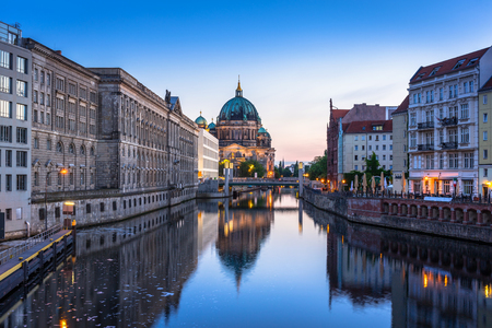 Berlin Cathedral (Berliner Dom) reflected in Spree River, Germany