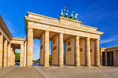 The Brandenburg Gate in Berlin at sunrise, Germany Stock Photo