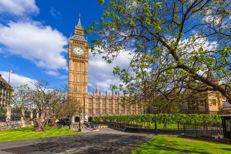 lords: Big Ben at the Palace of Westminster, landmark of London, UK Stock Photo