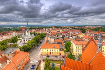 Aerial view of the old town in Chelmno, Poland Stock Photo