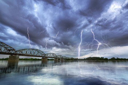 Summer thunderstorm over the Vistula river in Poland