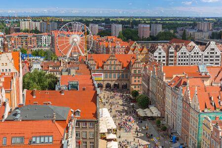 GDANSK, POLAND - JULY 13, 2017: People on the Long Lane of the old town in Gdansk, Poland. Gdansk is the historical capital of Polish Pomerania. Editorial