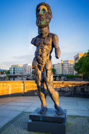 bode: BERLIN, GERMANY - JUNE 15, 2017: Art statue on museum island in Berlin at sunrise, Germany. Berlin is the capital and the largest city of Germany with a population of approximately 3.7 million people.