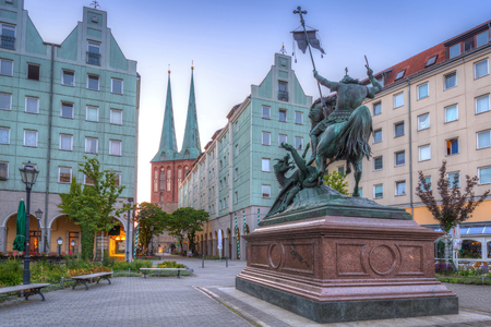 st german: Architecture of city center in Berlin at dawn, Germany. Stock Photo