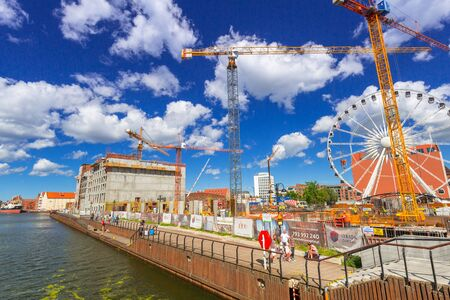 GDANSK, POLAND - JULY 13, 2017: Building constraction at Motlawa river in Gdansk, Poland. Gdansk is the historical capital of Polish Pomerania. Editorial