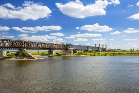 riverbank: Old railway bridge over Vistula river in Tczew, Poland