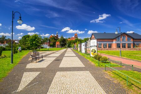 riverbank: TCZEW, POLAND - AUGUST 8, 2017: Promenade in the park on riverbanks of Vistula river in Tczew, Poland. Tczew is a town at Vistula River in northern Poland. Editorial