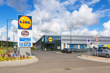 ROTMANKA, POLAND - AUGUST 23, 2017: Newly built Lidl supermarket near Pruszcz Gdanski, Poland.  Lidl is a German discount supermarket that operates over 10,000 stores in 26 European countries.