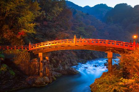 Shinkyo Bridge during autumn in Nikko, Tochigi, Japan Stock Photo