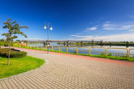 Sidewalk and bike path at Vistula river in Tczew, Poland Stock Photo