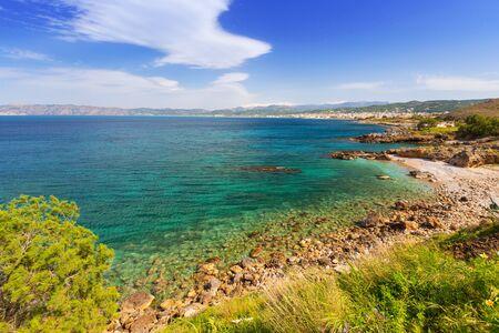 Coastline of Kissamos town on Crete with Samaria mountains, Greece