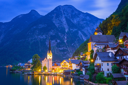 Hallstatt village in Alps at dusk, Austria Stock Photo