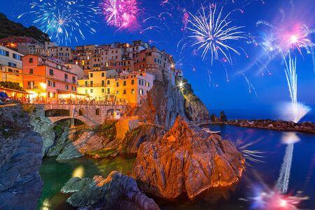New Years firework display in Manarola town, Italy