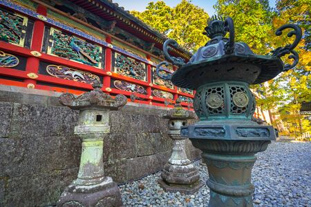 NIKKO, JAPAN - NOVEMBER 13, 2016:Architecture of Toshogu Shrine temple in Nikko, Japan. Nikko is a popular destination for many international tourists with Tosho-gu temple Editorial