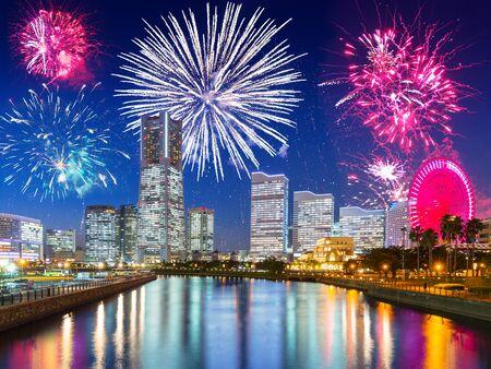 New Years firework display in Yokohama, Japan