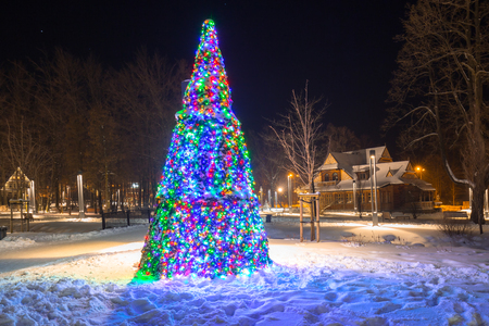 Beautiful Christmas tree in the park of Zakopane, Poland Stock Photo