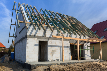 Carcass of the roof in house under construction