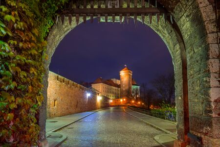 Gate to the Royal Wawel Castle in Krakow at night, Poland