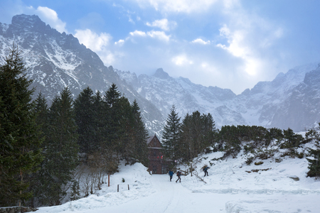 Snowy trail in Tatra mountains at winter, Poland