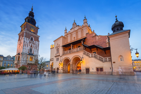 The main square of the Old Town in Krakow, Poland