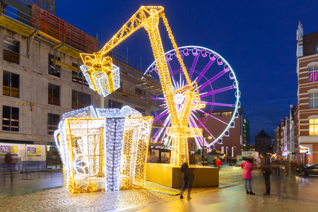 gdansk poland december 8 2017 christmas decorations and ferris wheel in old - Christmas Ferris Wheel Decoration