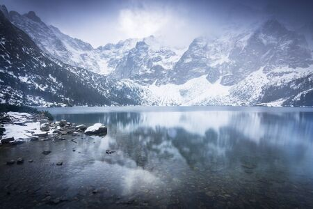 Beautiful winter at Eye of the Sea lake in in Tatra mountains, Poland Stock Photo