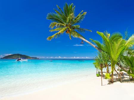 Tropical beach scenery at Caribbean Sea Stock Photo