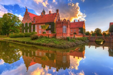 Architecture ot the Trolle-Ljungby Castle in southern Sweden at sunset