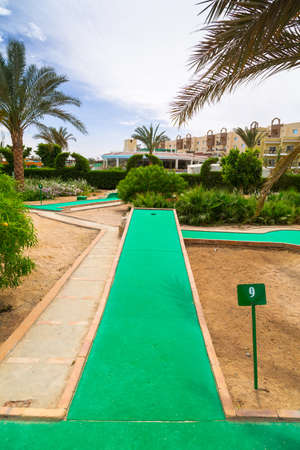 HURGHADA, EGYPT - APR 9, 2013: Mini golf of Three Corners Sunny Beach in Hurghada on 12 April 2013. Three Corners is Belgian company with 11 hotels at Red Sea in Egypt and one in Budapest, Hungary.