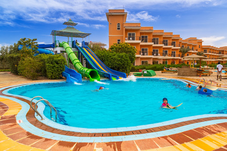HURGHADA, EGYPT - APR 9, 2013: Tropical resort Three Corners Sunny Beach in Hurghada on 12 April 2013. Three Corners is Belgian company with 11 hotels at Red Sea in Egypt and one in Budapest, Hungary. Editorial