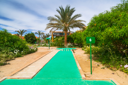 HURGHADA, EGYPT - APR 9, 2013: Mini golf of Three Corners Sunny Beach in Hurghada on 12 April 2013. Three Corners is Belgian company with 11 hotels at Red Sea in Egypt and one in Budapest, Hungary. Redakční
