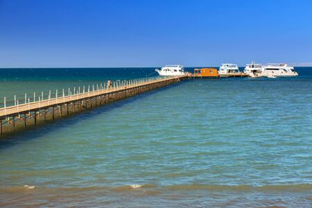 Wooden pier at the Red Sea in Hurghada, Egypt