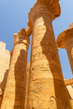 Pillars of the Great Hypostyle Hall in Karnak Temple, Egypt Stock Photo