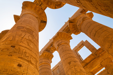 Pillars of the Great Hypostyle Hall in Karnak Temple, Egypt Stock Photo