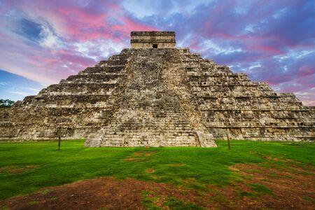 Kukulkan pyramid in Chichen Itza at sunset, Mexico Stock Photo