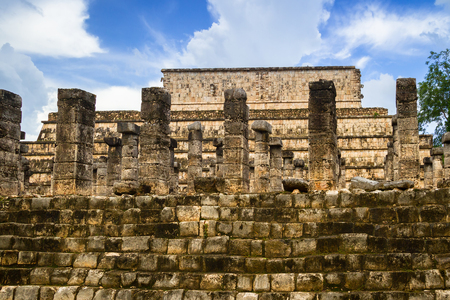 Columns of the Thousand Warriors in Chichen Itza, Mexico Stock Photo