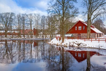 Winter Scenery With Red Wooden House In Sweden Stock Photo Picture