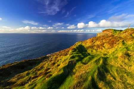 Cliffs of Moher in Ireland at sunny day, Co. Clare Stock Photo
